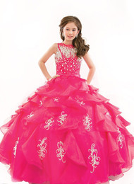 Barato Beleza Desfile Vestidos Crianças-Kids Junior Beauty Pageant Dresses para crianças Toddler Rhinestone Flower Girls Dress Vestidos Puffy 2016 Pageant