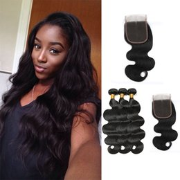 $enCountryForm.capitalKeyWord Australia - Mink Brazilian Hair Wet And Wavy Lace Closure Body Wave Tissage Bresilienne Virgin Brazilian Hair Body Wave With 4*4 Lace Closure 8A Garde