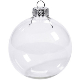 Discount christmas ornament ball - Wedding Bauble Ornaments Christmas Xmas Glass Balls Decoration 80mm Christmas Balls Clear Glass Wedding balls 3""