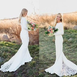 Discount cheap pink long sleeve mermaid gown - 2018 Plus Size Wedding Dresses Long Sleeve Vintage Lace Bohemian Wedding Gowns Elegan Mermaid Bridal Gowns Chapel Train