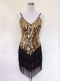 Barato V Vestido Com Mini Vestido-Shining V Neck Stage Vestuário Costume Latin Dance Dresses Art Deco das mulheres 1920 Gatsby Tassel Fringe Flapper Backless Dress