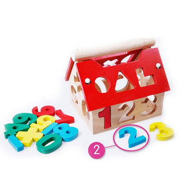 Number Blocks Canada - Wooden Toy Wood House Number Children Building Educational Intellectual Blocks Free Shipping