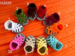 Yarn Crochet Unisex Baby Booties Australia - crochet baby handmake yarn sandals y flip flop , baby slipper comfortable infant Crochet Booties 0-12M cotton yarn
