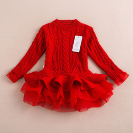 Dentelle Tutu Manches Longues Pas Cher-Hug Me Girls Babys Lace Tutu Sweater Robes Enfants Babys Childrens Clothing 2016 Automne Hiver Long Sleeve Christmas Princess Dress ZZ-982-33
