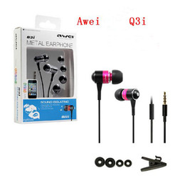 E bassEs online shopping - Awei Q3I ES Q3i Super Clear Bass Metal Earphones In Ear Headphone with Mic Noise Isolating Handfree for iPhone Samsung All Cell Phones MP3