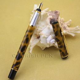 Pens Spots Canada - BAOER 801 yellow polished Black spots and Leopard grain Arrow Clip M nib Ink Steel Brand Luxury Fountain pen Free shipping