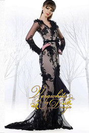 Hot Sale 2016 Sexy Black Lace Mermaid Evening Dresses With Long Sleeves V- Neck Appliques Sweep Train Formal Party Gowns de7c89f6a1f1