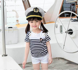 Pant Shirt New Style For Girls Canada - kids navy striped shirt and pants 2015 New summer Children Clothing Set Short Sleeve Striped Girl T Shirt White Shorts Kids Twinset for girl