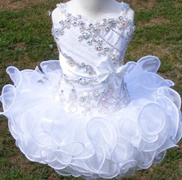 Barato Faixas De Strass Barato Para Vestidos-2015 New White Toddler Pageant Vestidos Cupcake Princess Dress Beads Rhinestones Bow Sash Organza Flower Girls Vestidos Custom Made Cheap