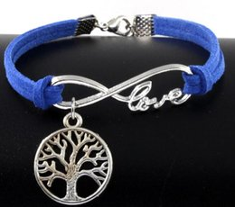 Love Life Bracelets Canada - 10pcs Vintage Silver Love Infinity Life Tree Charms Bracelets Bangle For Women Mixed Color Velvet Rope Bracelet Jewelry Gifts Accessories