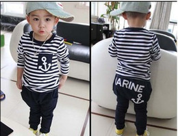 Discount marine clothes - 2015 Spring Autumn new fashion Fashion Boys Girls Marine Navy Striped T shirt +long Pants Suits Children's Clothing