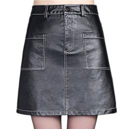 7d5d000075 Otoño Invierno Negro Mini falda de cuero de imitación mujer de gran  bolsillo de cintura alta falda corta Casual femenino una línea faldas negro  más el ...
