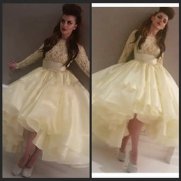 $enCountryForm.capitalKeyWord Canada - Light Yellow Abaya Dubai Kaftan Long Sleeve Lace Organza Arabic Evening Dress robe de soiree Formal Dresses Evening