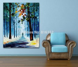 forest canvas print Canada - Palette Knife Painting Autumn Foggy Forest Modern Landscape Picture Printed on Canvas for Home Office Hotel Wall Art Decor