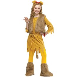 Performance De La Danse Pas Cher-Halloween Girls Performance Costume Accessoires Animal Cosplay Props Ensemble Headband Vest Robe Leggings Cadeau de Noël Dancing Party Supplies