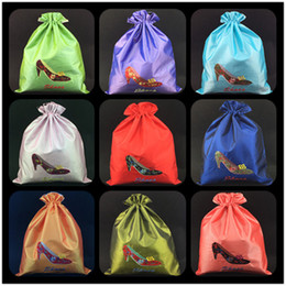 Silk Drawstring Shoe Bags NZ - Embroidery High heels Drawstring Travel Bag Shoes Packing Bag Double Layer Reusable Dust Cover Shoe Storage Bag Pouch 27x36 cm 10pcs lot