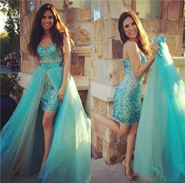 Discount detachable train beaded evening dress - 2016 Crystal Short Prom Dresses Arabic Sexy Sweetheart Evening Gowns with Detachable Train Long Sequins Beaded Party Dre