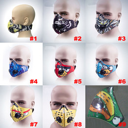 neoprene cycling filter mask 2019 - PM2.5 Fashion Cycling Air Pollution Face Mask Activated Carbon Dust Sports Mask Filters Smog Face Neoprene Mask 9 Style