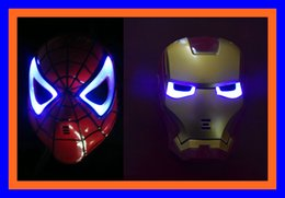 $enCountryForm.capitalKeyWord Canada - Halloween Hoilday Cosplay LED lamp Spider man Mask Children Festival Iron Man Glowing Lighting mask Masquerade Party red mask &Boy Gift