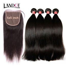 14 16 18 inch straight weave 2019 - Grade 9A Brazilian Peruvian Malaysian Indian Virgin Human Hair Weaves 3 Bundles With Lace Closures 5x5inch Straight Camb