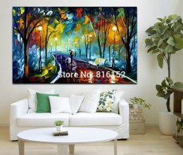 $enCountryForm.capitalKeyWord Canada - Palette Knife Oil Painting Landscape Walk in Night Forest Alley Art Picture Printed on Canvas for Home Office Hotel Wall Decor
