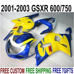 Kit Gsxr K1 NZ - ABS full fairing kit for SUZUKI GSX-R600 GSX-R750 2001-2003 K1 GSXR 600 750 blue yellow plastic fairings set 01-03 RA29