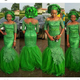 Discount dresses fashion nigerian - Green Aso Ebi Style Lace Mermaid Evening Dresses 2016 Half Sleeves Full Length Off Shoulder Prom Party Dress Nigerian St