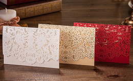 Golden weddinG invitations cards online shopping - Wedding Supplies Red White Vintage Luxurious Elegant Golden Laser Cut Wedding Invitation Card color