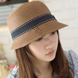 Straw Hat Trilby Canada - Wholesale-Women Straw UV Protection Cycling Outdoor Summer Beach Sun Hat Bow Brim Trilby