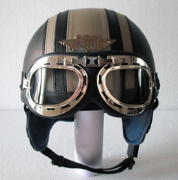 $enCountryForm.capitalKeyWord Canada - Wholesale-14 Colours ! HOT Leather Covered Motorcycle Helmet Open Face Scooter Casco Half Helmet & UV Goggles Adult S M L XL