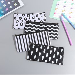 $enCountryForm.capitalKeyWord Canada - Simple pencil case bags student study fashion tools stationery wave stripe makeup design simple fashion glasses