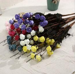 $enCountryForm.capitalKeyWord NZ - PE Artificial flowers rose head Real touch Multicolor PE rose foam mini flower Bouquet solid color Scrapbooking artificial rose flowers HR11