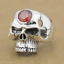 $enCountryForm.capitalKeyWord Canada - 925 Sterling Silver Red CZ Stone Huge Skull Mens Biker Ring 9M015 US Size 8~14 Free Shipping
