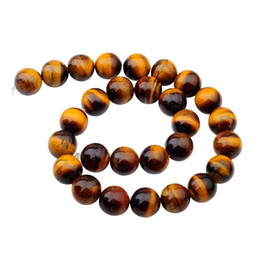 tiger sports Canada - Natural Gemstone Tiger Eye 14mm Round Beads for DIY Making Charm Jewelry Necklace Bracelet loose 28PCS Stone Beads For Wholesales