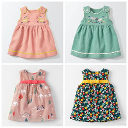 Discount pink corduroy dress - Fashion Autumn baby girls vase dress kids girls carton elastic force corduroy skirt baby cute sleeveless bowknot dress 4