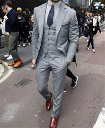 Discount light grey vest men formal - Grey Men Suits With Vest Three Pieces Tuxedo For Weddings Mature Custom Made Groom Formal Wear