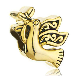 $enCountryForm.capitalKeyWord Canada - High quality gold plated olive leaf dove peace bird European bead metal charm girls bracelets with large hole Pandora Chamilia Compatible