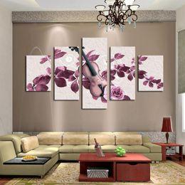 $enCountryForm.capitalKeyWord Canada - 5 Pane Purple Flower HD Painting Canvas Wall Art Picture Home Decoration Living Room Decoration Canvas Print Modern Unframed Art