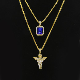 mens angel wings pendant NZ - Mens Hip Hop Jewelry sets Mini Square Ruby Sapphire Full crystal Diamond Angel wings pendant Gold chain necklaces For male Hiphop Jewelry