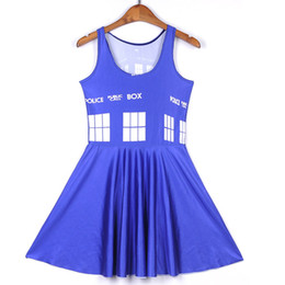 Barato Tempo De Praia Sexy-2018 NOVO 1263 Summer Sexy Girl Skater Vest Dress Moda Doctor Who Time lord tardis Blue 3D Prints Mulheres Beach Pleated Dress Plus Size