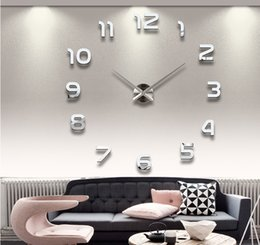 clock number stickers Canada - 20 inches DIY 3D Mirror Numbers Acrylic Sticker Wall Clocks (Random Color) silver 0201002