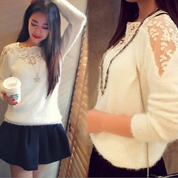 hollow lace shirts crochet Australia - 2015 Winter Women Hot Sales Splicing Patchwork Lace Patterns Hollow Crochet Crop Shirt Knitwear Knitting Blouse 2 Colors