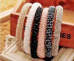 bohemian style headbands wholesale Canada - 2 rows and 4 rows Shining Crystal Modern Style Headband Hairbands for Girls Headwear Hair Accessories for Women 5PCS