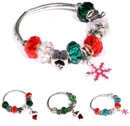 Black Stockings For Sale NZ - Europe & United States Christmas Jewellery Bracelets with Color Stone Santa Stocking Snowflake Elastic Charm Bracelet for Sale Free Shipping