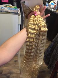 "$enCountryForm.capitalKeyWord Australia - Brazilian Blonde Virgin Human Hair Weft 12""-28"" Color#613 Blonde Deep Curly Brazilian Virgin Human Hair Weaves"