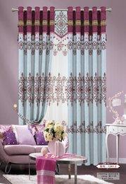 curtains purple shade new design europe type curtain cationic jacquard flocking shading classical chinese style