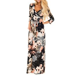 China Preself 2017 Women Dress Autumn Sexy V Neck Floral Wraps 3 4 Sleeve Long Maxi Dress With Belt q171118 cheap blue sashes belts suppliers