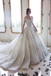 $enCountryForm.capitalKeyWord Canada - Ziad Nakad Bridal Dress Off The Shoulder 3D Floral Flower Lace Wedding Gowns Applique Bling Sequins Sweep Train Beach Wedding Dress