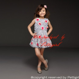 BaBy red roses dresses online shopping - Pettigirl New Arrival Girl Dress Gray Chiffon Dress With Red Rose Flower Girls Party Princess Dresses Baby Clothes GD31115