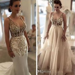 Barato Vestido Elegante Decote Scoop Decote-2018 Elegant Champagne Scoop Decote Sereia Prom Vestidos com Overskirts Lace Appliques Arabic Evening Party Gowns Custom Made